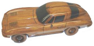 wooden model Corvette, wooden model cars, mahogany model cars,