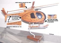 oh-6 personalized wood wooden helicopter model