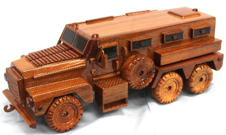 MRAP Bison Model, MRAP Bison  Mahogany Wood Model