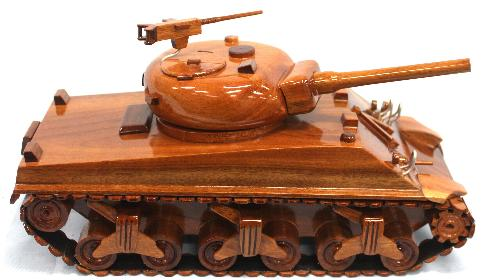 Sherman Tank Model, Sherman Tank Mahogany Wood Model